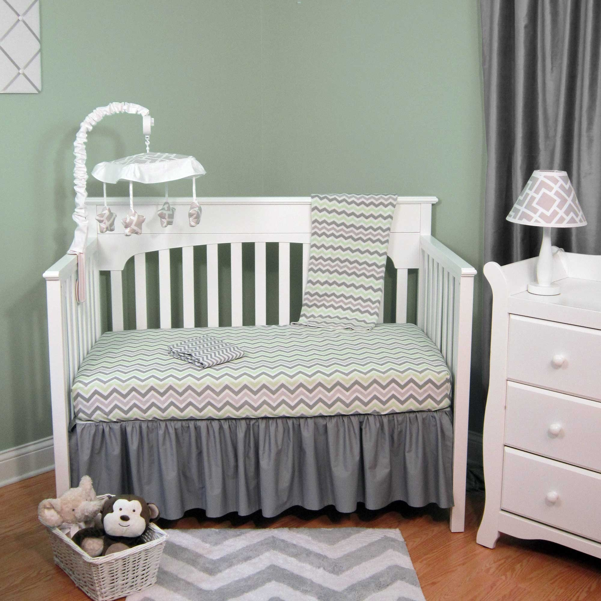Green & Gray Chevron 4 Piece Baby Crib Bedding Set