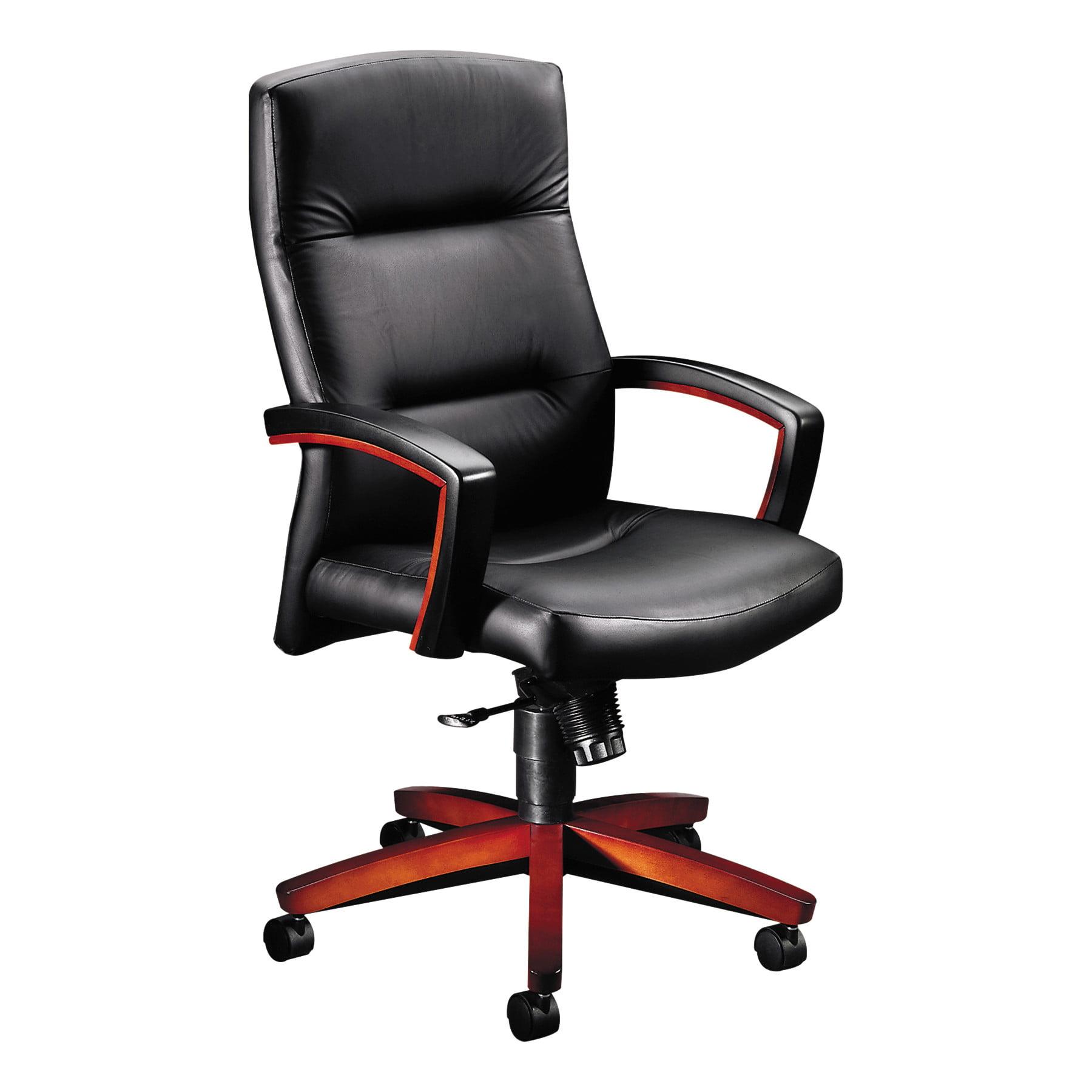 HON 5000 Series Executive High-Back Swivel/Tilt Chair, Black Leather/Henna Cherry