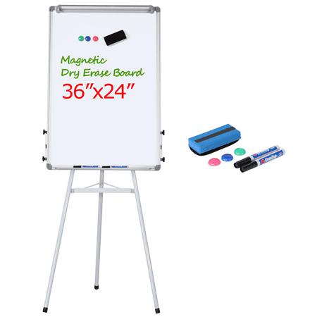 SmileMart 36 x 24″ Portable Height Adjustable Magnetic Whiteboard