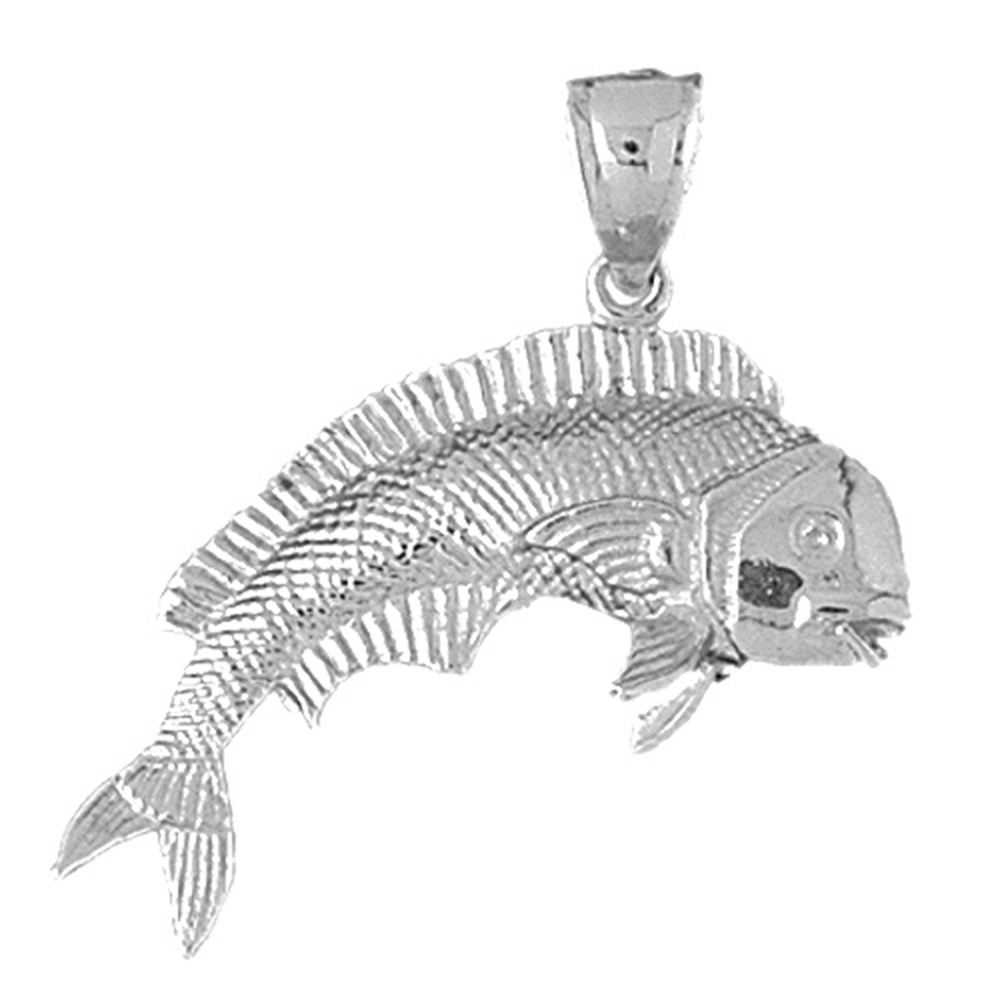 Sterling Silver Mahi Mahi Pendant 34 mm (Approx. 8.585 grams) by Jewels Obsession