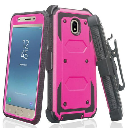 online store 7181e bd4d2 Samsung Galaxy J7 2018, J7v 2nd Gen, J7 Star, J7 Refine Case, [Built-in  Screen Protector] Hybrid with Belt Clip Holster Combo Phone Case Purple