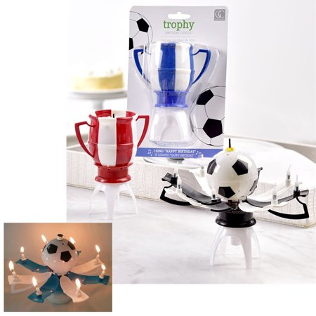 1 Trophy Soccer Ball Music Birthday Candle Rotating Spin Magic Cake Topper Party Academy Soccer Ball Trophy