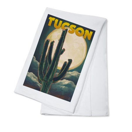 Tucson, Arizona Cactus & Full Moon - Lantern Press Artwork (100% Cotton Kitchen (Towson Single Handle Kitchen)