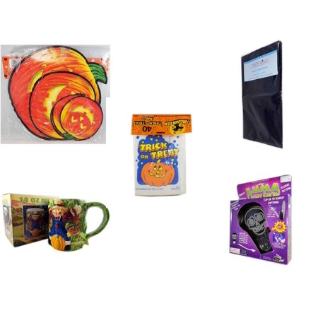Halloween Fun Gift Bundle [5 Piece] - Classic Pumpkin Cutouts Set of 9 - Black Plastic Table Cover  -  Trick or Treat Bags 40/ct - Earthenware Scarecrow & Harvest Design Mug 14 oz. -  Luma Light Sho