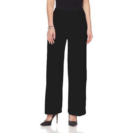 SLINKY BRAND Vertical Textured Knit Palazzo Womens Pants BLACK Size Small