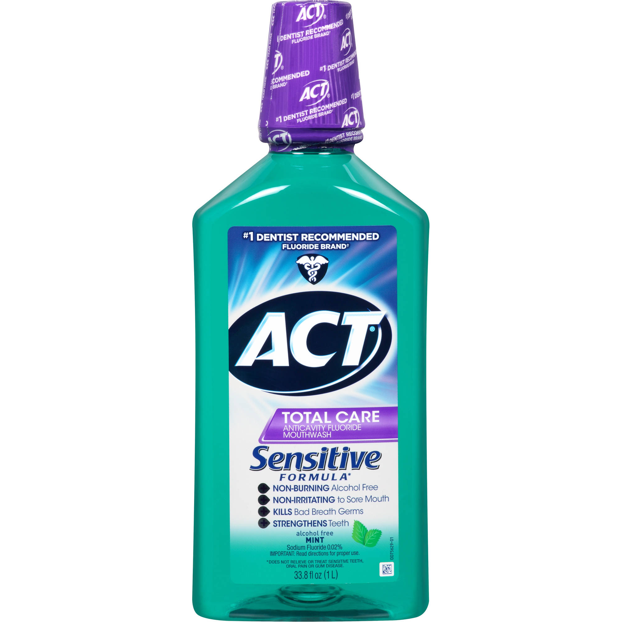 Act Total Care Mild Mint Anticavity Fluoride Mouthwash, 33.8 oz