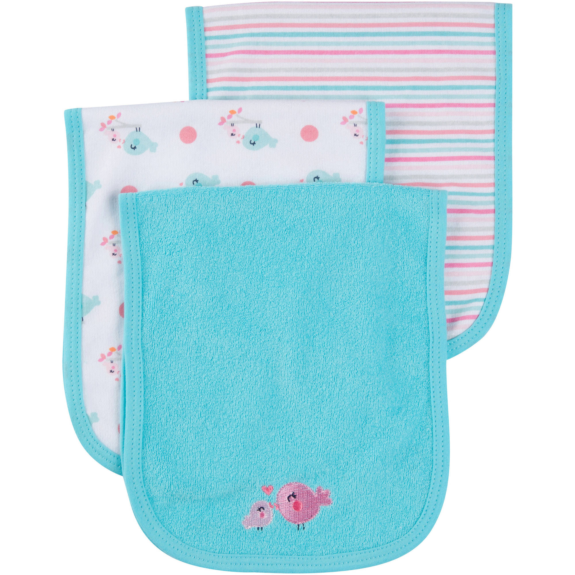 Gerber Newborn Baby Girl Terry Burp Cloths, 3-Pack