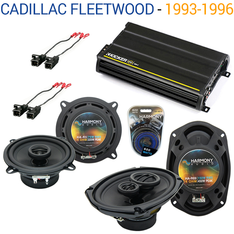 Cadillac Fleetwood 93-96 OEM Speaker Upgrade Harmony R5 R69 & CX300.4 Amp - Factory Certified Refurbished