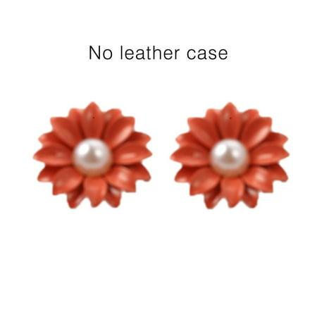 Korean Style Jewel Pearl Daisy Flower Ear Nail Earrings Women Jewelry - image 2 of 6