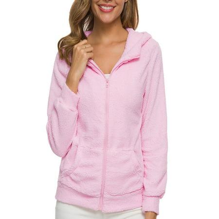 Women Winter Fluffy Wool Hooded Long Sleeve Jacket Coat Ladies Teddy Bear Fleece Fur Warm Zipper Outerwear Hoodies Sweatshirt Jumper Tops Shirt