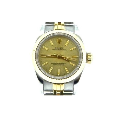 Pre-Owned Ladies Rolex Two-Tone 18K/SS Oyster Perpetual Champagne 67193 (SKU N110395NCMT)