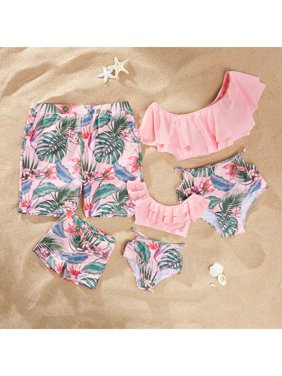 PatPat Summer Flounce Plant Print Matching Family Swimsuits