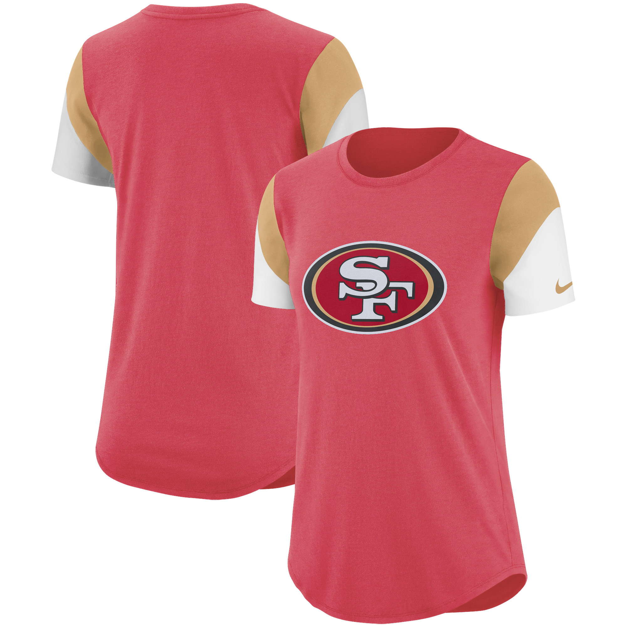 San Francisco 49ers Nike Women's Tri-Blend Team Fan T-Shirt - Scarlet/Gold