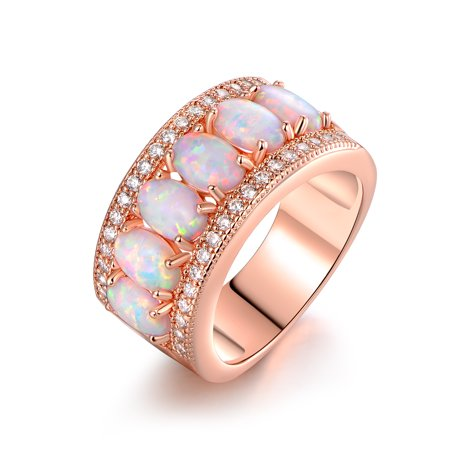 18K Rose-Gold Plating Oval-Cut White Fire Opal & Cubic Zirconia Ring Gold Plating Brass