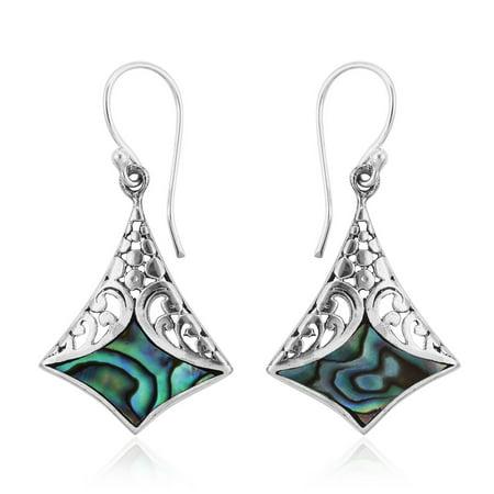 Boho Handmade Abalone Shell Dangle Drop Earrings 925 Sterling Silver Jewelry for Women Gift Sale Handmade Earrings