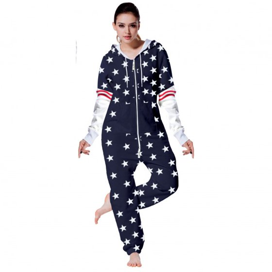 1c5f2f68723a SkylineWears - SkylineWears Womens Fleece Onesie One Piece Pajama Jumpsuit  Black Blue-Arms Large - Walmart.com