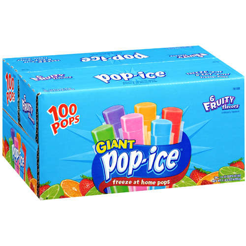 Pop-Ice 6 Fruity Flavors Giant Freeze Pops, 1.5 Oz., 100 Count