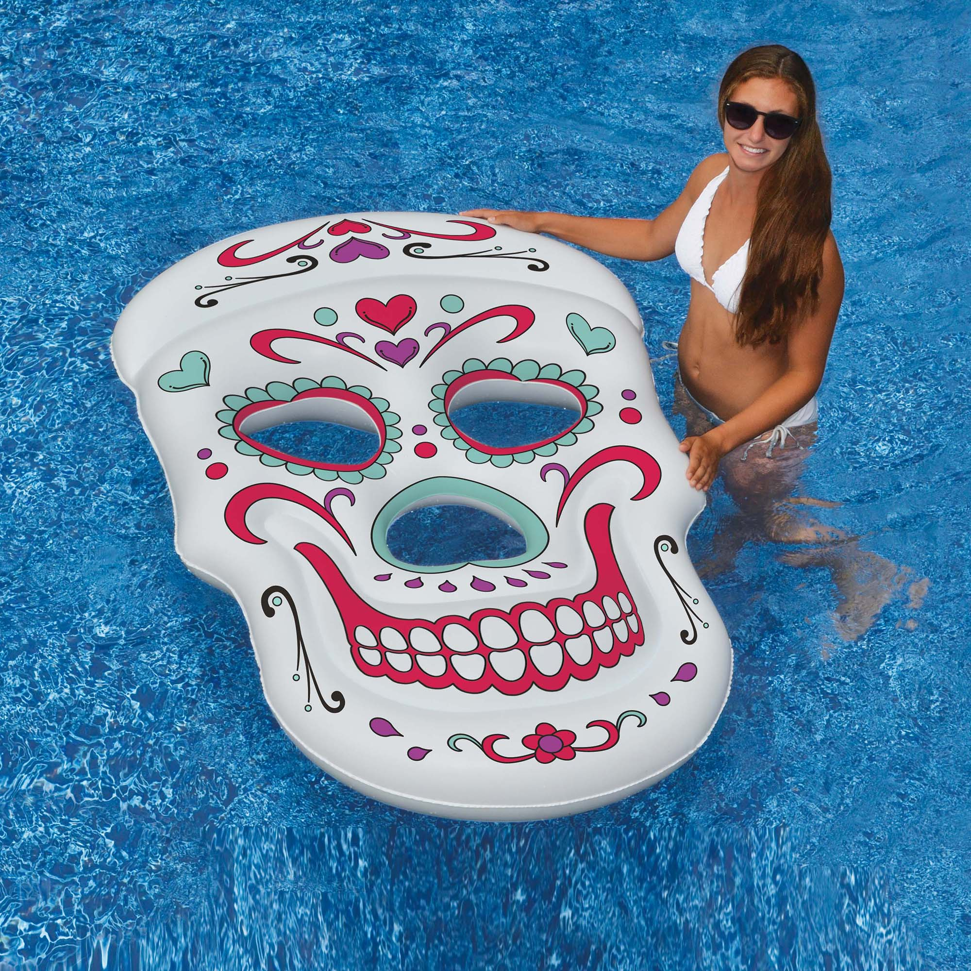 Swimline Sugar Skull 62-in x 40-in Inflatable Pool Float by Blue Wave