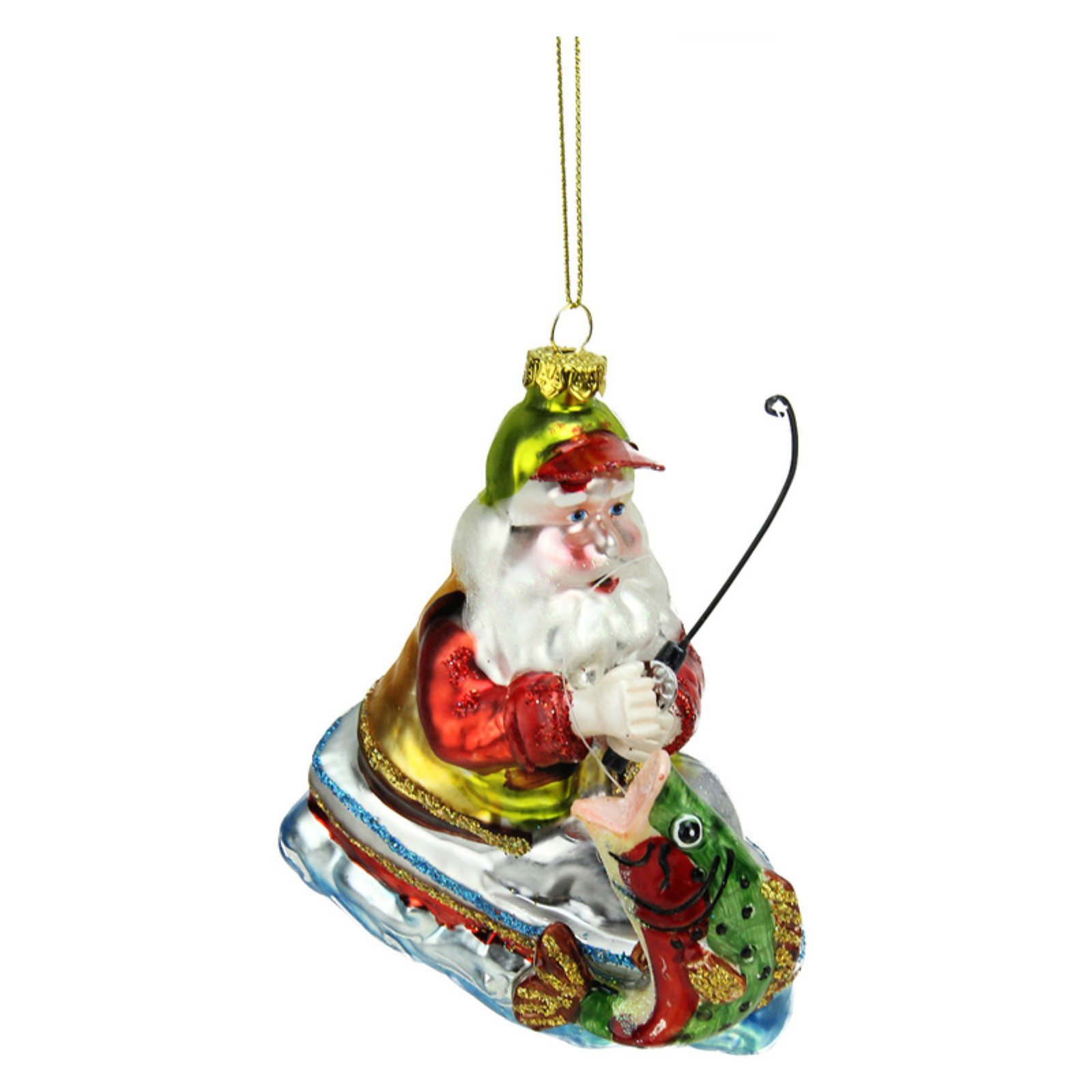 Northlight Catch of the Day Santa Claus Fishing on Boat Glass Christmas Ornament