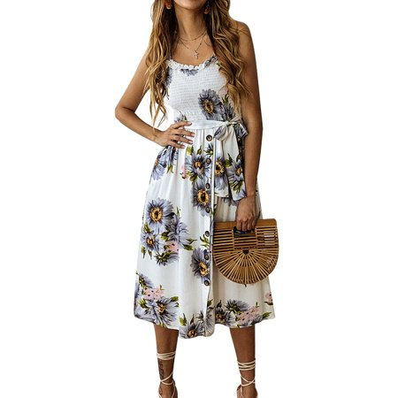 Casual Women Summer Holiday Beach Strappy Sling Midi Dress Bardot Button Through Floral Print Waistband Swing Sundress ()