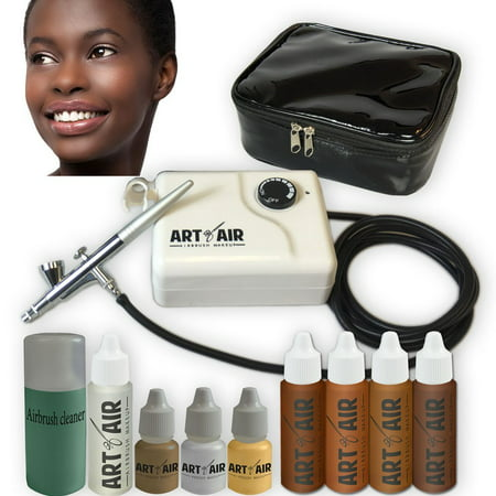 Art Of Air Dark Complexion Professional Airbrush Cosmetic Makeup System   4Pc Foundation Set With Blush  Bronzer  Shimmer And Primer Makeup Airbrush Kit