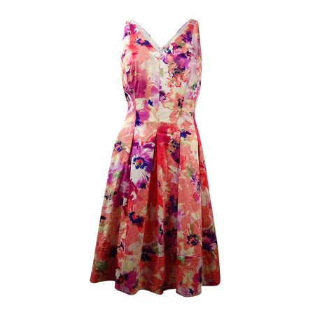 Ralph Lauren Sundress - Lauren Ralph Lauren Women's V-Neck Floral Sundress (4, Coral/Lavender Purple)