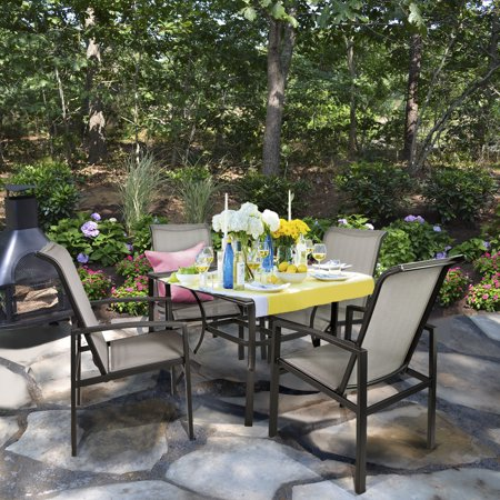 5pc Outdoor Patio Table Chair Set Mesh Dining Set Gray Walmart Com