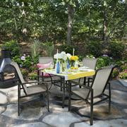 5PC Outdoor Patio Table & Chair Set Mesh Dining Set, Gray