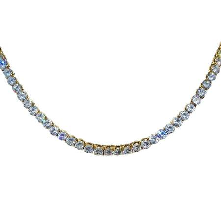 AkoaDa Alloy Tennis Chain Choker Rhinestone Clear Cz Stone Diamond Mens Hip Hop Necklace