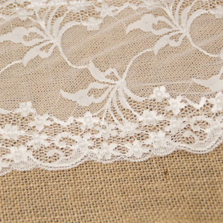 Hessian Burlap Table Runner Table Flag Wedding Wide Flower Lace Natural Rustic Retro Table Decoration - image 3 de 6
