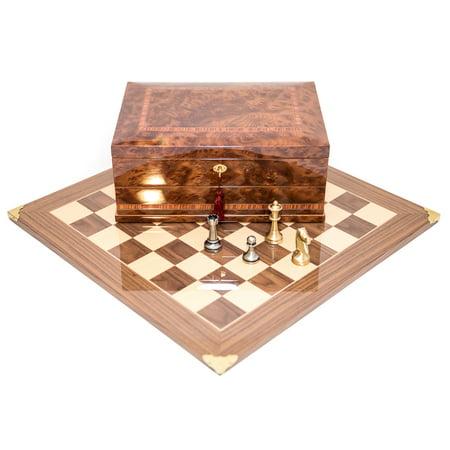 Brass Staunton Chessmen & Master Board with Napoli Chess Storage Box