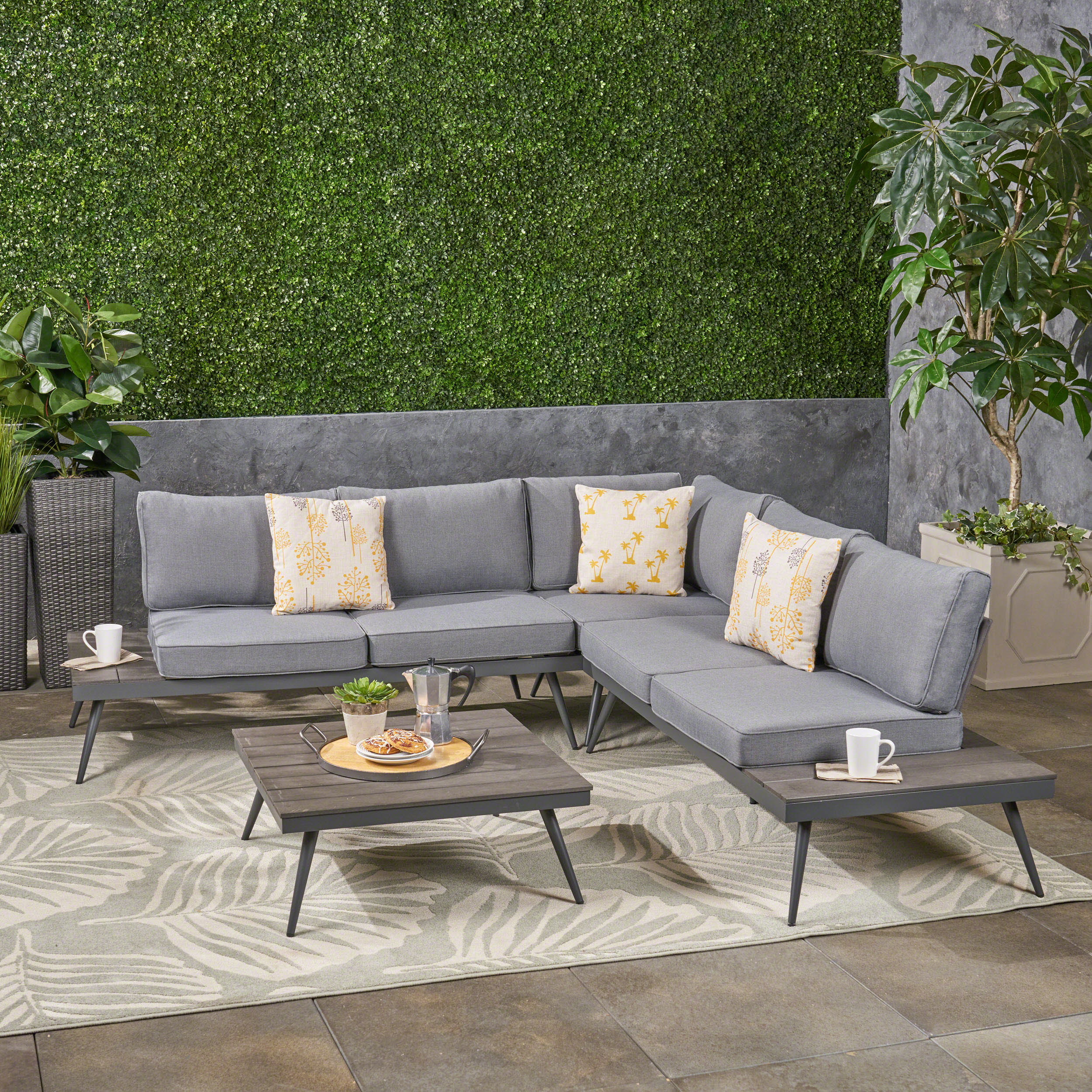 Cristian Outdoor 4 Piece Wood and Aluminum V-Shaped Sofa Set, Gray, Gray