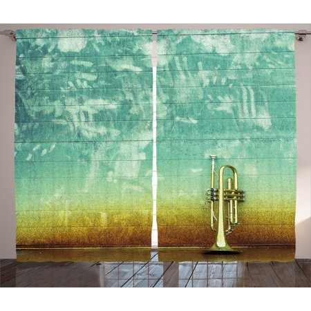 Stand Alone Photo - Curtains 2 Panels Set, Old Aged Worn Single Trumpet Stands Alone Against a Faded Wall Jazz Music Theme Photo, Living Room Bedroom Decor, Sea Green Brown, by Ambesonne