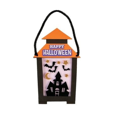 Family Fun Halloween Crafts Decorations (Fun Express - Halloween Lantern Sign CK-12 for Halloween - Craft Kits - Hanging Decor Craft Kits - Sign Decoration Craft Kits - Halloween - 12)