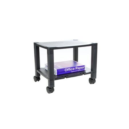 Mind Reader 2 Shelf Mobile Printer Cart with Cord Management, 17(W) x 15(H) x 13(L), (Blk Print Cart)