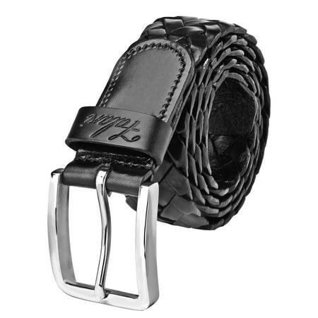 100% Soft Genuine Leather (Falari Black Men's Braided Belt 100% Genuine Leather 35mm Strap 9005 )