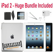 (Refurbished ) Apple iPad 2nd Generation 64GB White - Verizon Plus WiFi - Bundle - Case, Rapid Charger, Pre-Installed Glass & Stylus Pen ---- FREE 2 Day Shipping