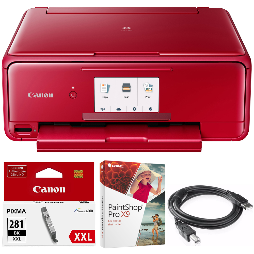 Canon PIXMA TS8120 Wireless Inkjet All-in-One Printer with Scanner & Copier Red (2230C042) Black Printer Ink, Corel Paint Shop Pro X9 Digital Download & High Speed 6-foot USB Printer Cable
