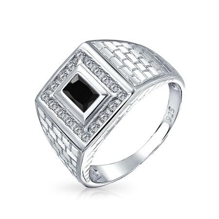 925 Silver Brick Pattern Simulated Onyx Black CZ Rectangle Mens Engagement  Ring For Women