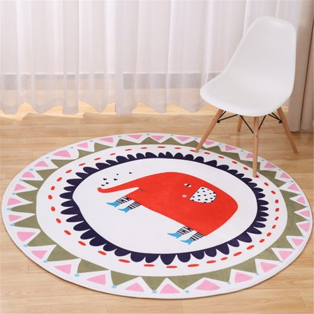 Round Rugs Baby Rug Nursery Rugs Cartoon Elephant Home Decoration Area Rugs Bedroom/Living Room Carpet Mat Baby Crawling Mats Kids Play Mat Machine Washable Rugs, 39inch Max