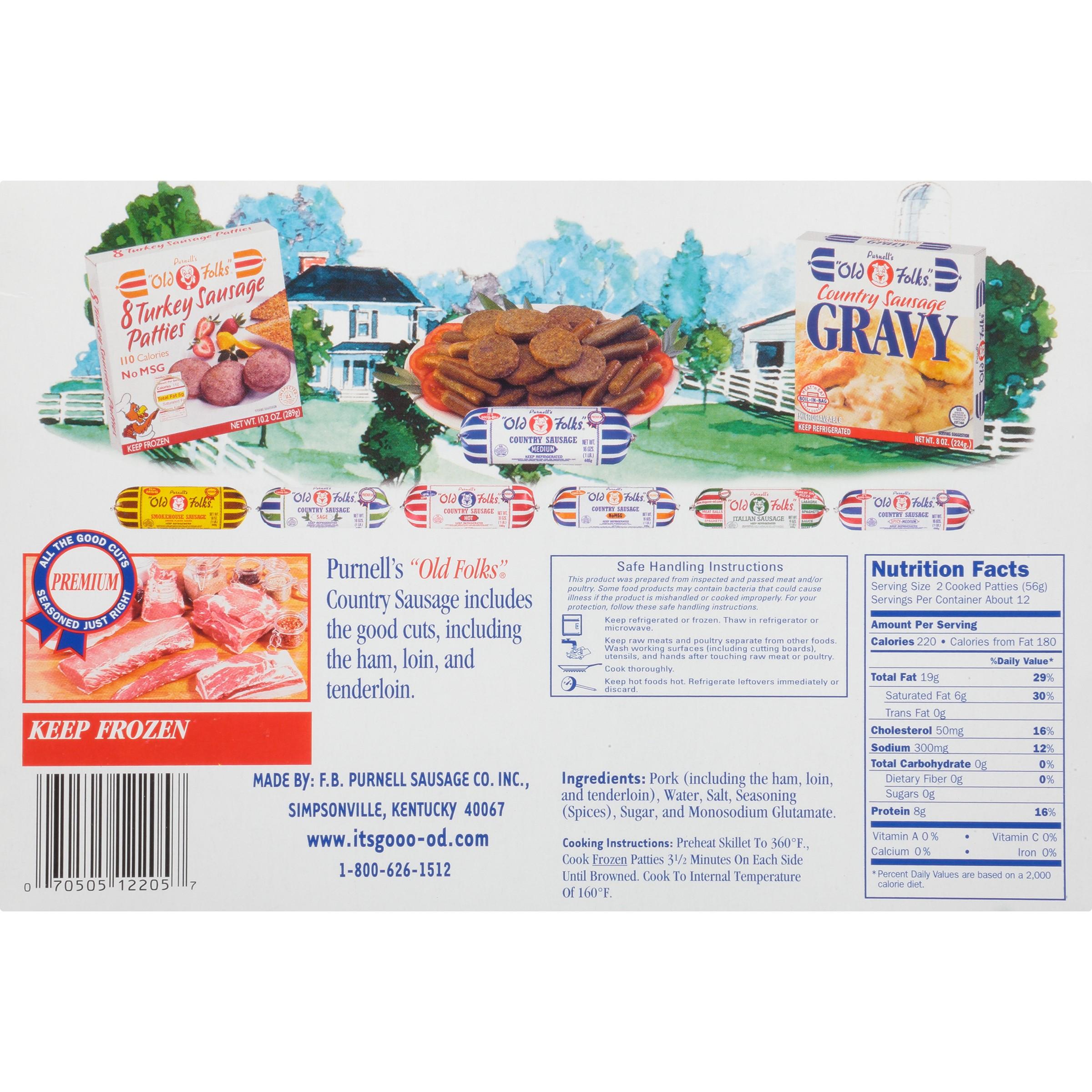 purnell s old folks medium patties 24 ct country sausage 38 oz box walmart com