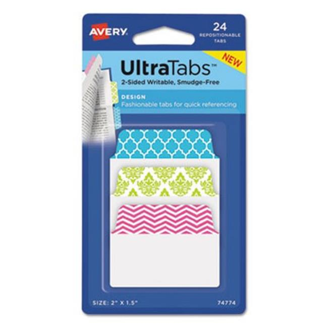 Avery Dennison 74774 2 x 1.5 in. Ultra Tabs Repositionable Tabs - Assorted Color, 24 per Sheet