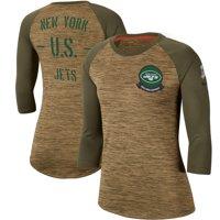 New York Jets Nike Women's 2019 Salute to Service Legend Scoopneck Raglan 3/4 Sleeve T-Shirt - Khaki