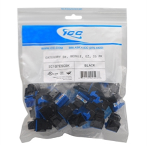 Icc IC107F5C-BK Module, Cat 5e, Hd, 25 Pk, Black