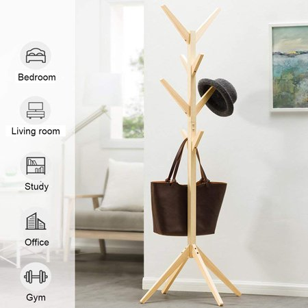 "69"" Entryway Coat Rack Free Standing Jacket Hat Tree Hanger Holder with 8 Hooks Tripod Base for Bedroom Office Hallway Entryway thumbnail"