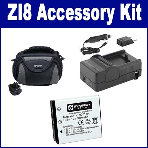 Kodak Zi8 Camcorder Accessory Kit includes: SDKLIC7004 Battery, PT27 Charger, SDC-26 Case