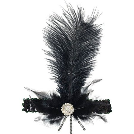 Amscan Glamorous 20's Old Hollywood Themed Party Charleston Feather Headband (1 Piece), Black, 11.5 x 6.75