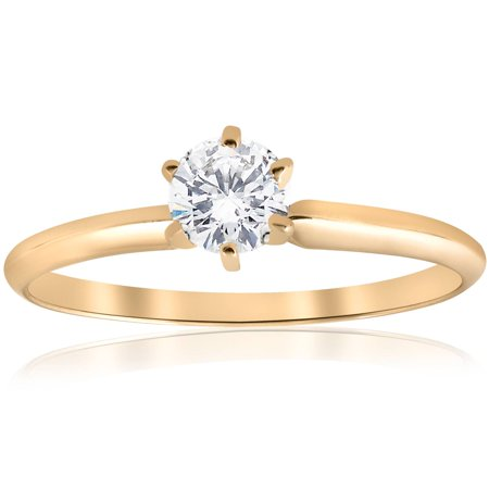 Cut Diamond Ring Band - 0.50 Ct Round Cut Diamond Yellow Gold Solitaire Engagement Ring Band Size 4-10