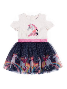 Little Lass Cold Shoulder Unicorn Tulle Dress (Baby Girls & Toddler Girls)
