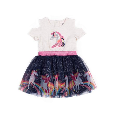 Little Mermaid Dress Toddler (Little Lass Cold Shoulder Unicorn Tulle Dress (Baby Girls & Toddler)